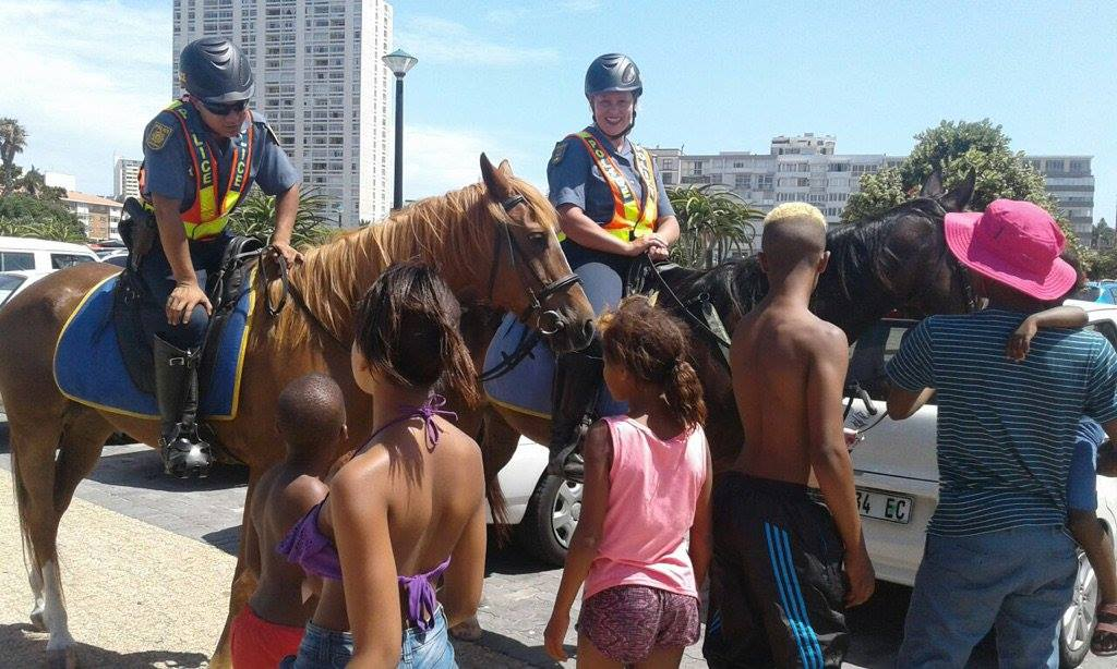 SAPS mounted unit making friends on patrol