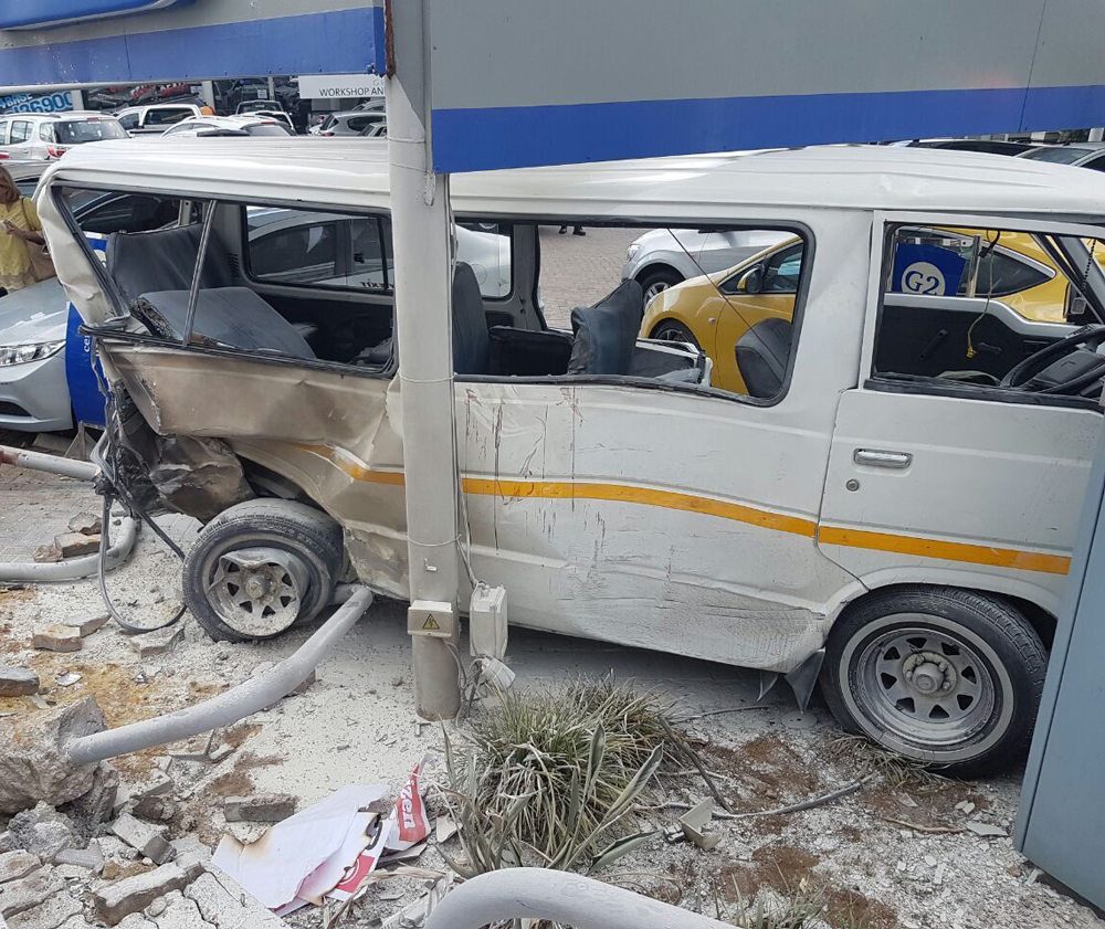 Taxis crash into dealership and pole, multiple patients including pregnant woman on scene