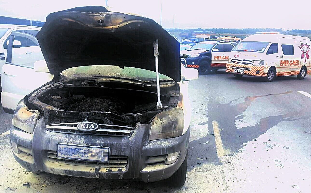 Car fire on the N1 North before Allandale Road, Midrand.
