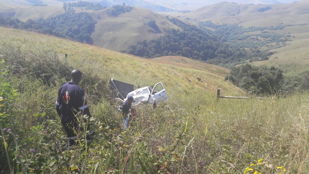 Two injured when vehicle rolls down embankment at Landies Hill