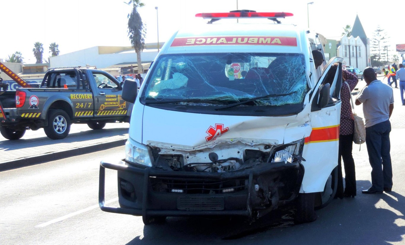 Fortunate escape from serious injury in ambulance collision in Swakopmund