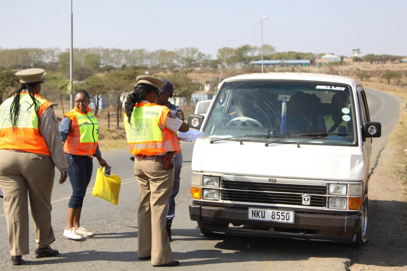 Women in traffic law enforcement stage traffic blitz in Ulundi.