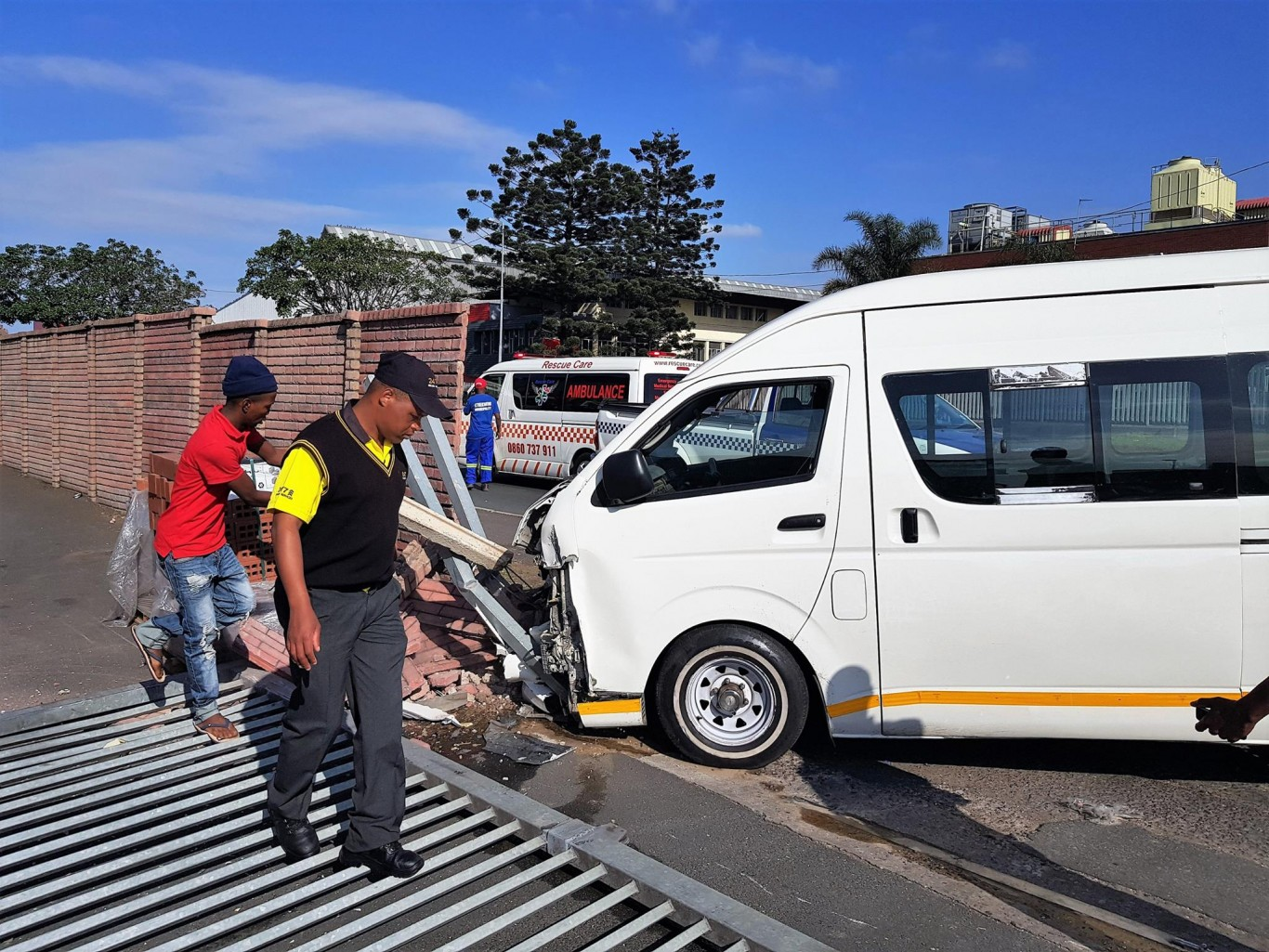 Eight injured as taxi crashes into wall in Mobeni