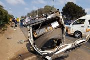Taxi rolls on the M1 Highway near Athol Oaklands turnoff injuring eleven, JHB