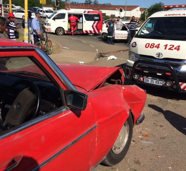 Seven children injured after two cars and a taxi collided in Northdale