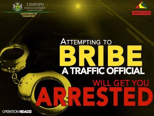 Two motorists arrested for trying to bribe traffic officers in Limpopo