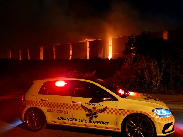 The Fire site on Bluff Road between Edwin Swales and Brighton Road on Saturday night was still active