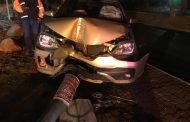Vehicle collides with a lamp pole in Randburg