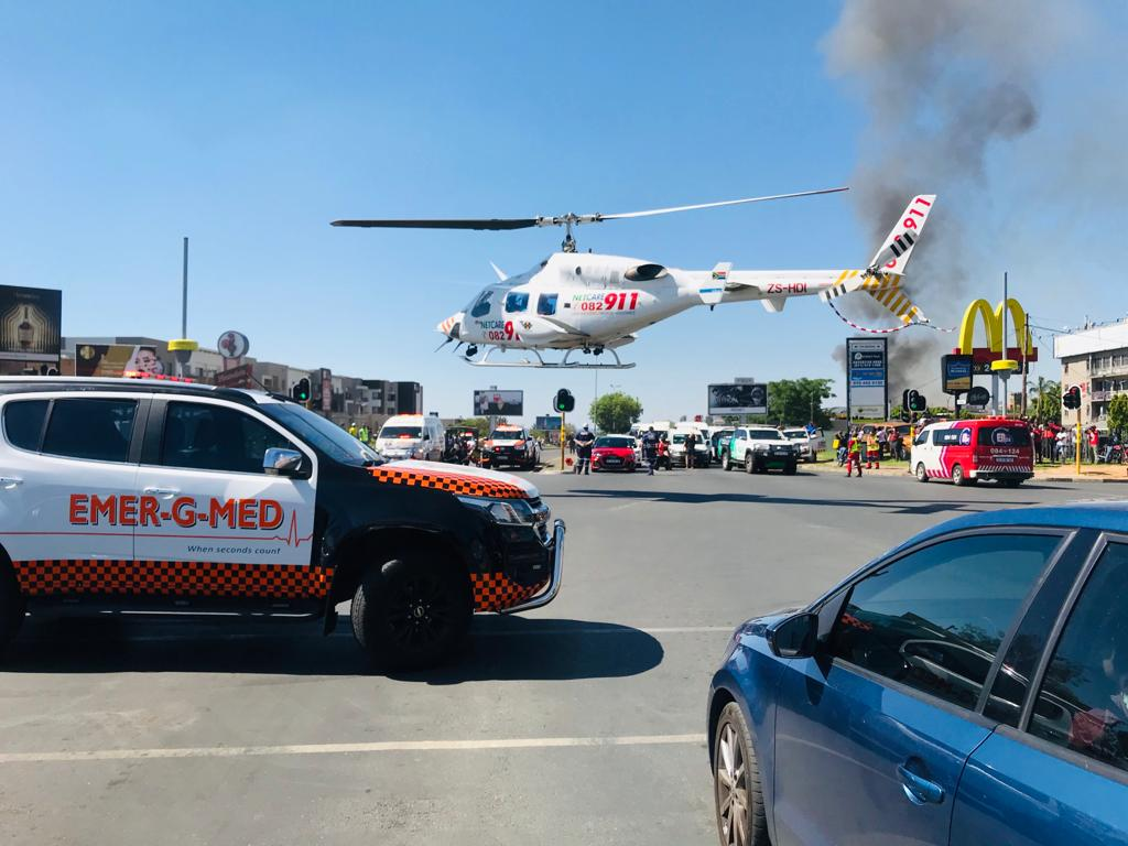 Victim airlifted after gas explosion in Rivonia Boulevard