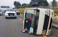 Fortunate escape from injury in a vehicle rollover, Boksburg